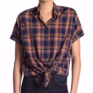 Madewell Button Top | Rainbow Plaid Tie Front